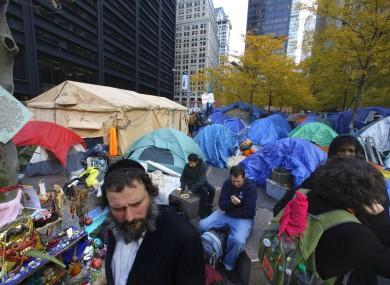 The encampment at Zuccotti Park on Monday