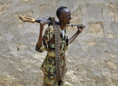 A Somali government soldier photographed in Mogadishu on Tuesday.