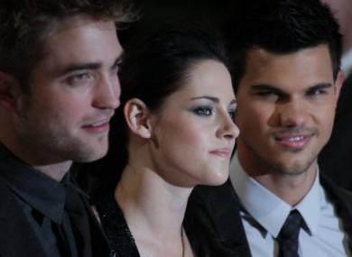 Twilight stars Robert Pattinson, Kirsten Stewart and Taylor Lautner at the Breaking Dawn premier in London.