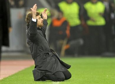 Villas Boas on his knees in Germany last night.