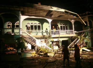 The scene of the explosion in Zamboanga city.