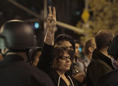 A protester at the Occupy LA camp last night
