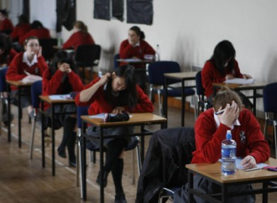 Junior Cert students in Dublin sitting their English exam last year.