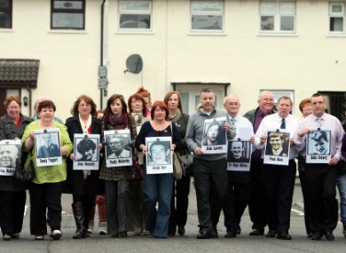 Relatives of those killed by British soldiers in 1971 at a press conference yesterday.