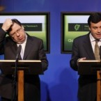 21 November 2010: Brian Cowen and the late Brian Lenihan speak at a hastily convened press conference after Lenihan confirmed that Ireland had asked for a bailout from the EU/IMF. (Photocall Ireland)