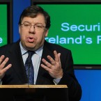 24 November 2010: Brian Cowen speaks to the media at government buildings as Ireland unveiled the harshest budget measures in its history (AP Photo)