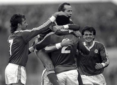 Lawrenson, Brady, McGrath and Houghton celebrate against Bulgaria, but it was Scotland's Gary Mackay who sealed Ireland's place at Euro 88 a month later.