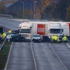 27 vehicles, including 5 articulated lorries were involved in the pile-up. Image: Chris Ison/PA Wire