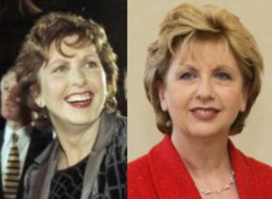 Mary McAleese in 1997 and in 2011