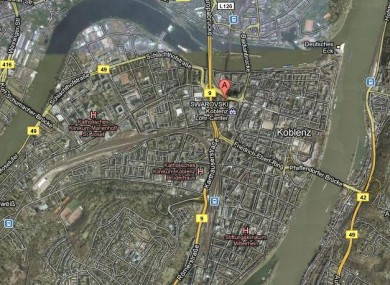 The city of Koblenz lies beside the Rhine river where the WWII era bomb has been discovered