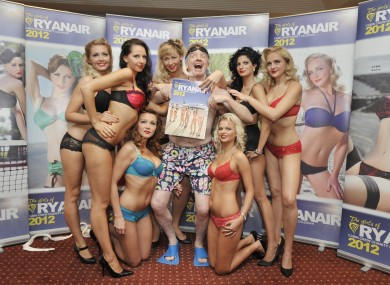 Ryanair boss Michael O'Leary and cabin crew members at the launch of the calendar