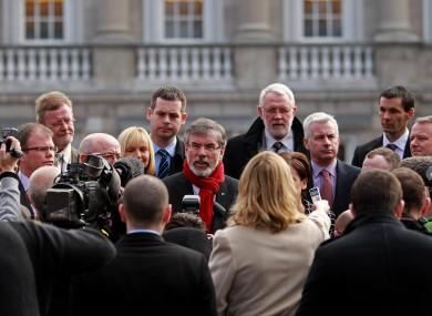 Sinn Féin TDs outside Leinster House (File photo)