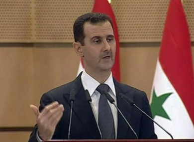 File photo of President Assad speaking on Syrian television.