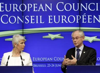 Croatian prime minister Jadranka Kosor and EU Council president Herman van Rompuy: pending a public referendum, Croatia will become the EU's 28th member in