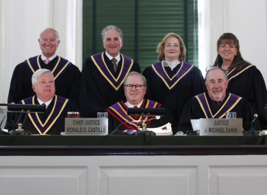 Judge J Michael Eakin is pictured at them lower far left