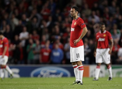 Ryan Giggs looks on after Basel's late equaliser during the first game between the sides in Old Trafford.