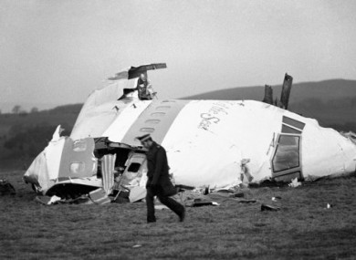 22 December 1988 photo of part of the Pan Am plane involved in the Lockerbie bombing.