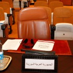 The empty chair of the Syrian delegate is seen at the Arab League foreign ministers' meeting in Rabat, Morocco on 16 November, 2011. Foreign ministers from the 22-member Arab League later formalised their weekend decision to suspend Syria's membership for refusing to end its bloody crackdown against anti-government protesters. (AP Photo/Abdeljalil Bounhar/PA Images)