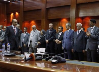 Libya's interim cabinet swears its oath of office last month.