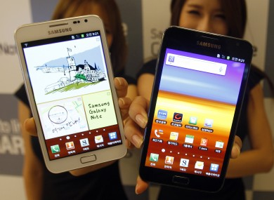 A Samsung phone with Google's Android operating software