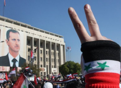 A pro-Assad rally in Damascus on Monday.