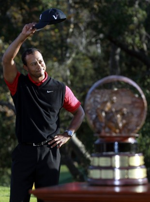 Tiger Woods before the trophy ceremony last night.