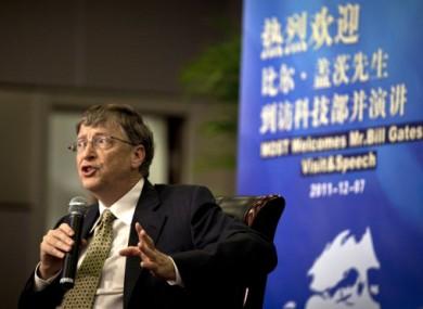 Bill Gates speaks to the press in Beijing today.