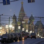 Police vehicles on Zamoskvoretsky bridge in Moscow (AP Photo/Ivan Sekretarev)