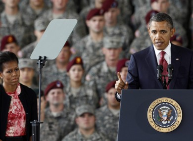 Barack Obama speaking today at Fort Bragg military base in North Carolina