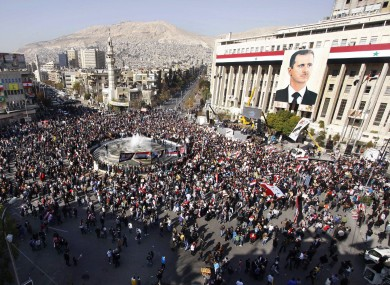 Pro-regime protesters gathered in the center of Damascus yesterday in support of Bashar al-Assad