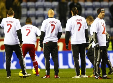 Liverpool players wore the t-shirts in the warm-up last night.