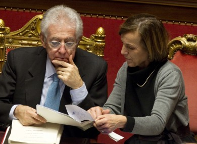 Mario Monti and his welfare minster minister Elsa Fornero, pictured during today's debates in the Italian senate.