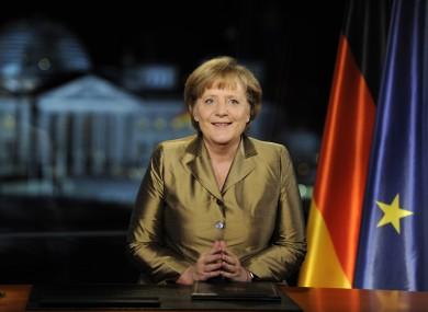 German Chancellor Angela Merkel recording her speech.
