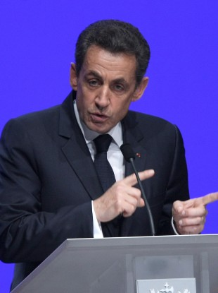 Sarkozy delivering his speech in Toulon, France, earlier this evening