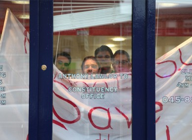 Students inside the constituency office of TD Anthony Lawlor in Naas today.