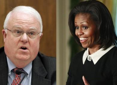 Jim Sensenbrenner, left, and Michelle Obama