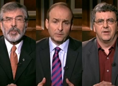 Adams, Martin and Pringle made separate televised addresses this evening