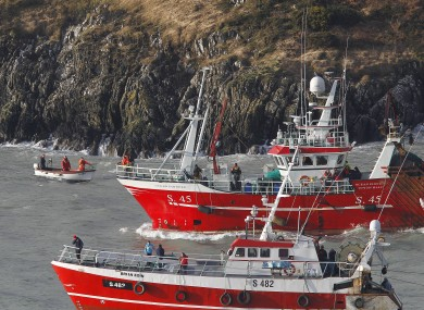 Trawlers and small boats taking part in the search off the coast of Union Hall in west Cork
