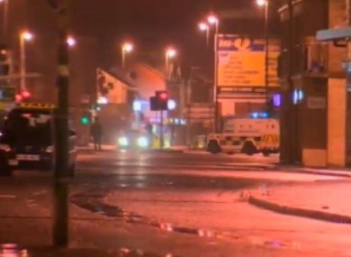 The scene of the aftermath of one of the bomb blasts in Derry last night