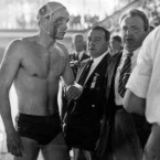Hungary's Ervin Zadar has a bloodied face after his team and that of the Soviet Union clashed violently in the water polo semi-finals. The Soviet Union had invaded Hungary a few weeks earlier and it was the year of the Hungarian Revolution.