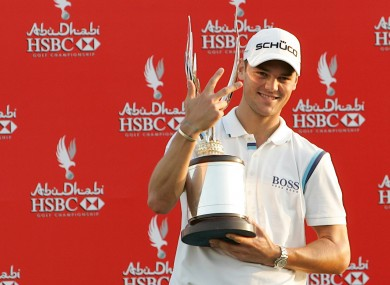 Martin Kaymer celebrates last year's win at the  Abu Dhabi Golf Championship, his third win at the tournament in four years.