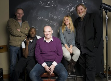 John Michael McDonagh, centre, phographed with Liam Cunningham, Don Cheadle, Katarina Cas and Brendan Gleeson of The Guard.