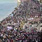 Thousands of protesters take to the streets of Alexandria after Mubarak's television appearance on 10 February in which he refused to step down. (AP Photo/ Tarek Fawzy/PA Images)
