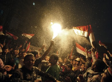 Celebrating the fall of Mubarak in February after an 18-day uprising.