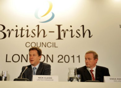 London, June 2011: NI First Minister Peter Robinson, Deputy PM Nick Clegg and Taoiseach Kenny at the last summit.