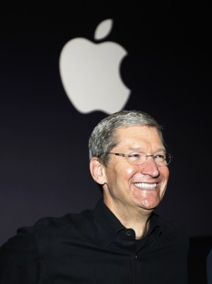 Happy days for Apple CEO Tim Cook.