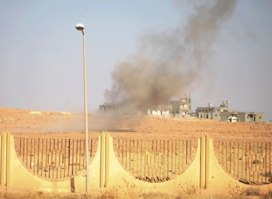 An explosion at the gate of Bani Walid during fighting in October
