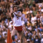 Poland's Wladyslaw Kozakiewicz gave the booing and jeering Soviet crowds the 'bras d'honneur' (equivalent to giving them the finger) when he won gold in the pole vault. The Polish government later claimed his gesture was an involuntary muscle spasm.