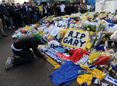 Fans lay tributes in memory of Gary Speed outside Leeds United's home ground, Elland Road (file photo).