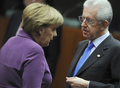Merkel and Monti pictured in Brussels last December